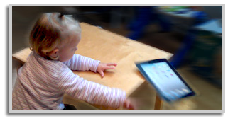 Secure iPad or tablet on the table to prevent your child to drop it